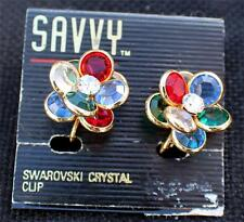 New On Card SAVVY Goldtone Swarovski Crystal FLOWER Shape Clip-On Earrings