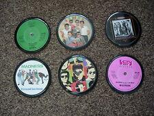 RANDOM VINYL COASTERS X 6 FROM ORIGINAL VINYL 7 INCH RECORDS (FREE POST!!)