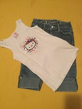 Girl-Hello Kitty&Candies capri set-Lot of 2-Size 8 blue denim-4th of July outfit