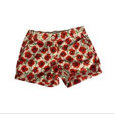 J Crew Crewcuts Girls Red Tan Retro Poppy Flower Cotton Dressy Shorts Size 7
