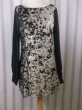 Audrey 3+1 Sequin Dress Small Black Gray  sequins sheer  sleeves burning man
