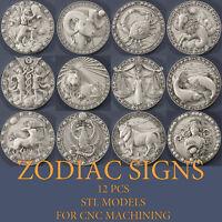 12 pcs set Zodiac 3d stl models relief for CNC Router Artcam Aspire VCarve Pro