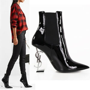 37.5 NEW $1695 SAINT LAURENT Black Patent Silver YSL OPYUM 110 Ankle BOOTS NIB