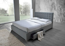 New Fabric Queen Bed with 4 Side Drawers Storage Bed Flat Slats BACK IN STOCK!