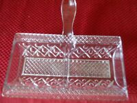 VINTAGE CUT GLASS RELISH / CANDY DIVIDED DISH WITH LONG HANDLE