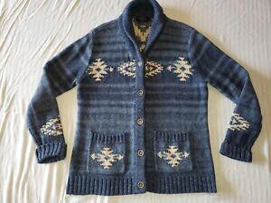 Pendleton Lodge Cotton Aztec Mexican Blanket Cardigan Sweater WOMEN'S M