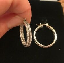 1.73 CT DIAMOND IN AND OUT Round Hoop Earrings 14K White Gold $1,550 Appraisal!