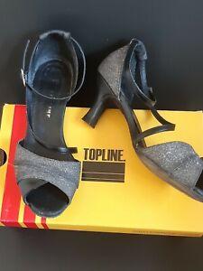 UK 7 Topline Silver Ballroom Latin dance Sparkly shoes suede sole Bag & Box