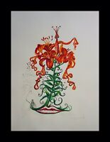 DALI Florals Tiger Lilies Hand Signed Numbered Etching Surreal ART