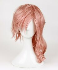 Final Fantasy Lightning Srah Long Pink Mixed Curly Hair Cosplay Party Full Wigs