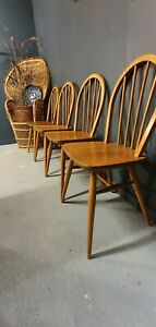 4 x Ercol 400 Dining Kitchen Chairs retro Hoop Back