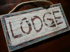 Rustic Burgandy & Blue Wood Grained LODGE Cabin Wall Home Decor Sign - NEW