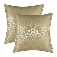 "2Pcs Gold Cushion Covers Pillows Shells Cases Damask Florals Home Decor 18""X18"""