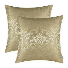 "2Pcs Gold Cushion Covers Pillows Shells Cases Damask Florals Home Decor 16 x 16"""