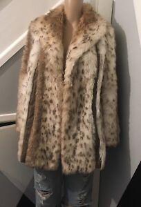 Vintage Coat  Astraka Faux Fur 70s  Leopard Skin Coat Uk12