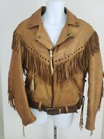 Rare Vintage Walter Leather Co. Fringed Motorcycle Jacket Sz L