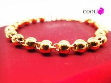 Bijoux femmes 18K 18ct Bracelet perlé en or massif or jaune 7 pouces