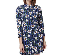 Topshop Women's Size Petites 6 Blue Cat Kitten Floral Shirt Dress