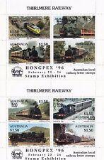 Train stamps Australia 1986 THIRLMERE railways pair of mini sheets Hongpex 96