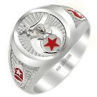 Customizable Men's 0.925 Sterling Silver Shriner Freemason Masonic Ring