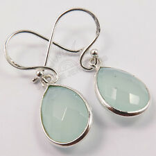 Checker Faceted AQUA CHALCEDONY Gemstones Earrings 925 Solid Sterling Silver NEW