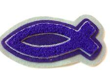 "Chenille Christian Fish Ichthys Purple for  Lettermans Jacket 5"" x 2.5"""
