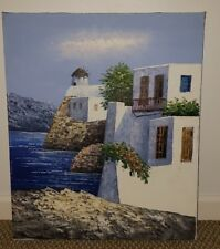 Original oil painting from Greece- beautiful villas along the coast