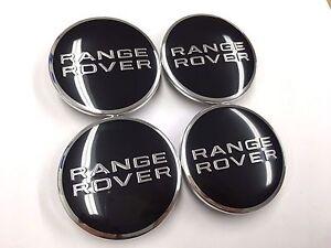 4x BLACK CENTER WHEEL BLACK EMBLEM BADGE HUB CAPS 63mm Fits Range Rover W