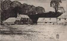 FARM LANDSCAPE Etching NEVILLE SHAW c1950