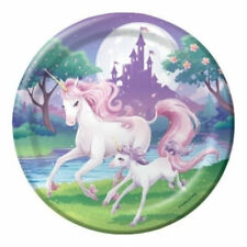 Unicorn Fantasy 8 Large Paper Plates Magical Birthday Party Table Girls Purple