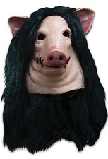 Halloween SAW PIG WITH HAIR ADULT LATEX DELUXE MASK COSTUME NEW
