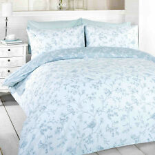 Blue Floral Design Double Duvet Cover & 2 Pillowcase Bedding Bed Set