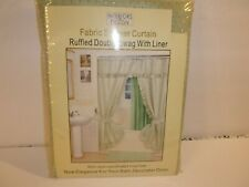 Fabric Shower Curtain Ruffled Double Swag With Liner Interiors Design Nip0.