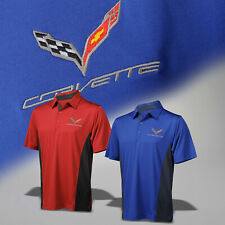 2014-2019 Corvette C7 Mens Drytec Cutter and Buck Polo Shirt with Logo & Script