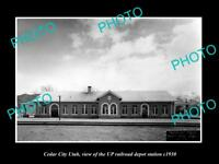OLD LARGE HISTORIC PHOTO OF CEDAR CITY UTAH, THE RAILROAD DEPOT STATION c1930
