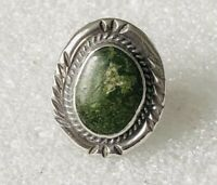 Vtg OLD PAWN Large Navajo Sterling Silver 15g Nevada Green Turquoise Ring Sz 11