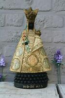 Antique black madonna chalkware nd de hal figurine statue religious rare