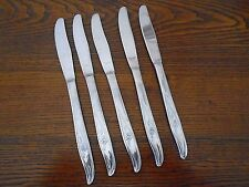 """New listing 5 Vtg Rose Motif Stainless Flatware Dinner Knives 8.5"""""""