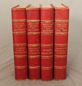 Rare Books British Hunts and Huntsmen 4 Volumes 1908 - 1911