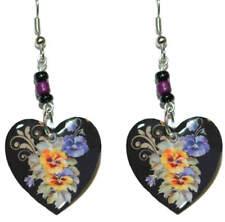 BEAUTIFUL PANSIES FLOWERS HEART DANGLE EARRINGS (EH008)