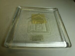 """Living Quarters Glass 5"""" Square Pillar Candle Holder Plate Base For Votive too"""