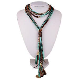 Womens Multilayer Pearl Beads Necklace Bib Choker Chunky Statement Pendant Chain