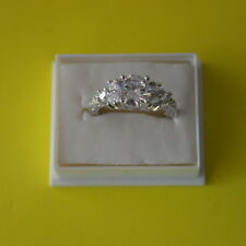 Superb 5.80/Ct Lab Diamond & White Sapphire Ring 10KT White Gold PL 3.9 Gr.