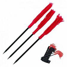 "3 Pc Set 6"" Red Tassel Fixed Blade Ninja Kunai Black Throwing Knife Wrist Strap"