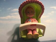 FISHER PRICE LOVING FAMILY DOLL HOUSE 1994 BABY GIRL W INFANT SEAT