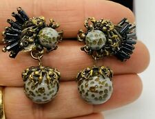 Vintage Signed Miriam Haskell Art Glass Dangle Clip On Earrings