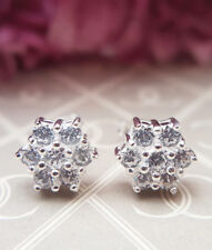 Beautiful Ladies Solid Sterling Silver Sparkling CZ Cluster Stud Earrings