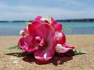 Orchid Hair Clip Pink Wedding Bridal Tropical Silk Flower Hawaiian Hawaii Large3