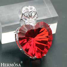 NEW Valentine's Love Jewelry Huge Fire Garnet Heart 925 Sterling Silver Pendant