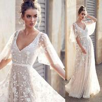 Half Sleeve V neck Wedding Dress Long Lace Applique Long Beach Bridal Gowns